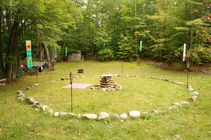 Our wedding day, the alter in the middle was made to go up into a bonfire. :)