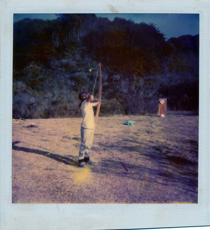 Me shooting a bow Todd made (one of his first I think)