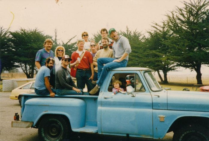 "Some of the team in the back of my dad's chevy ""big blue""  me in the front seat grinning my little head off."
