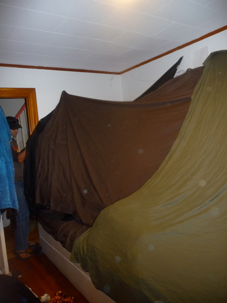 It was a pretty cool fort. Took up all our bed. It is amazing what sheets and thumbtacks can do!