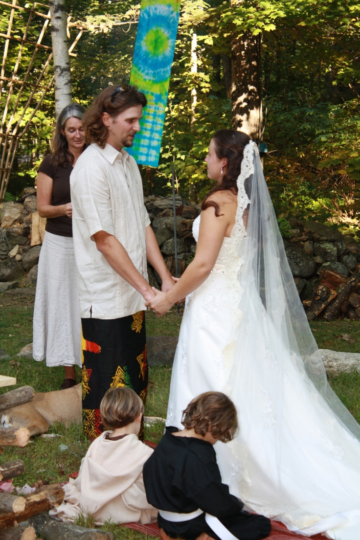 What a blessing to marry in our years, surrounded by family and friends.  Oh and dogs, we had 5 dogs at the wedding and Honey layer on my train most of the ceremony.