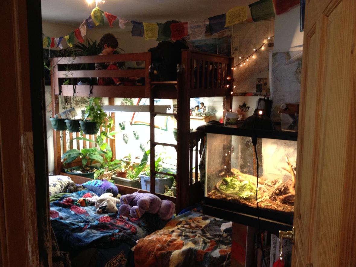 The boy's indoor bunk bed jungle/secret hideout.