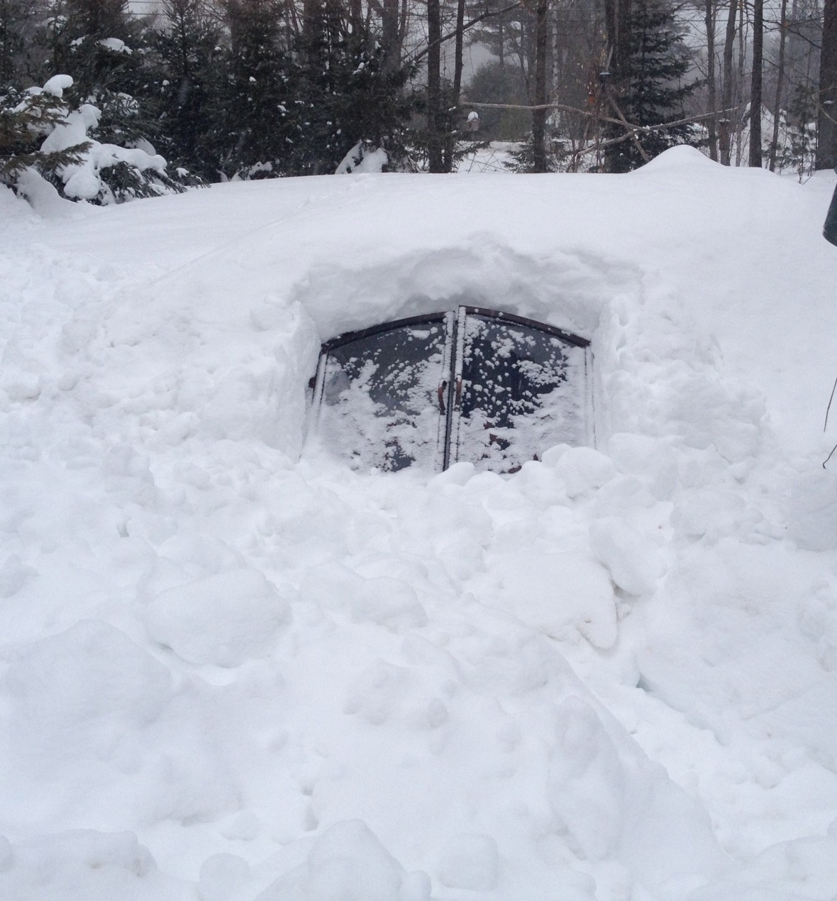 Every great snow fort needs a classy door.